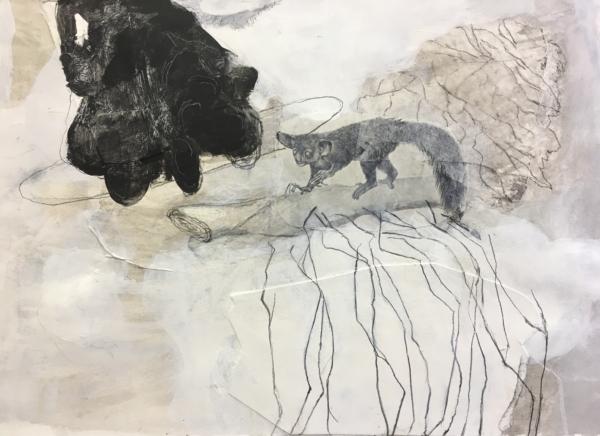 STIGFINNARE, 39 x 28 cm, teckning/collage